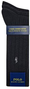 Polo Ralph Lauren Three-Pack Big and Tall Ribbed Dress Socks