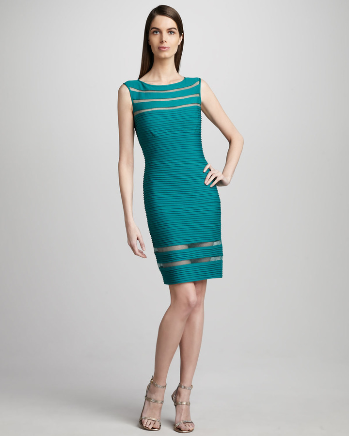 Tadashi Shoji Sleeveless Illusion Sheath Dress