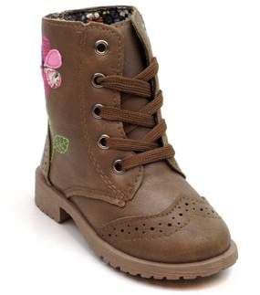 BLUE SUEDE SHOES Blue Children's Flower Lace-up Military Boots-TAN-9