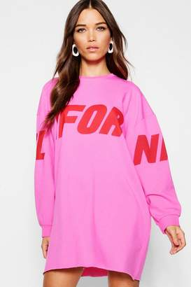 boohoo California Sleeve Print Oversized Sweatshirt Dress