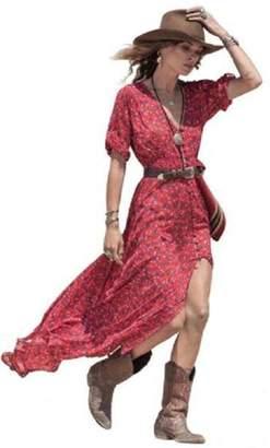 4d861a67028 Orangesky Women Boho Summer Chiffon Floral Party Beach Long Maxi Dress (M)