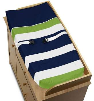 JoJo Designs Sweet Navy Blue and Lime Green Stripe Baby Changing Pad Cover