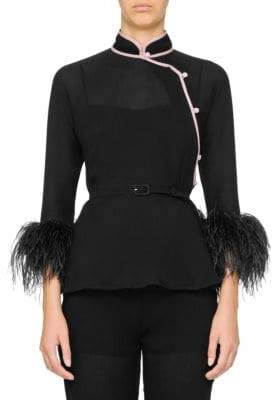Prada Silk Chiffon Feather Blouse