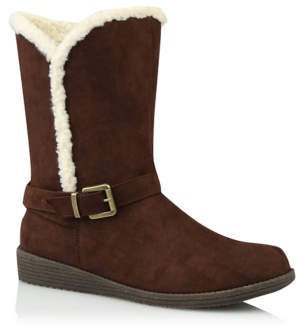 George Dark Brown Fleece Lined Mid Calf Boots