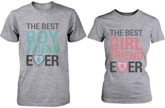 365 Printing Best Boyfriend Girlfriend Ever Matching Couple Shirts – Grey Cotton T-shirt