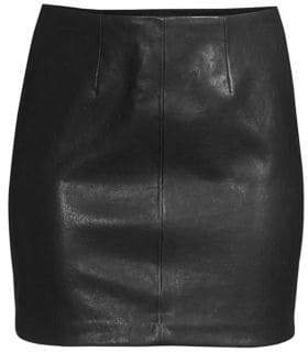 Alice + Olivia Women's Hannon Leather Mini Skirt - Black - Size 4