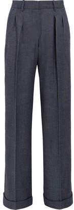 Max Mara Wool-twill Wide-leg Pants - Navy