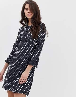 Closet London Closet split neck fluted sleeve tunic dress