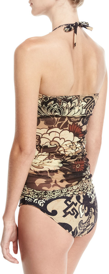 Fuzzi Vintage Floral Two-Piece Tankini Swimsuit Set, Black/Brown 3