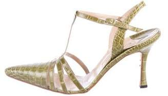 Manolo Blahnik Snakeskin Mid-Heel Sandals Green Snakeskin Mid-Heel Sandals