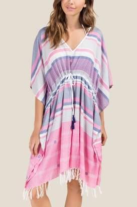 francesca's Geneva Striped Poncho Swim Cover-up - Pink