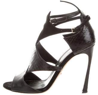 Sergio Rossi Leather Peep-Toe Sandals
