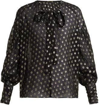 Saint Laurent Polka-dot fil coupé silk-blend blouse