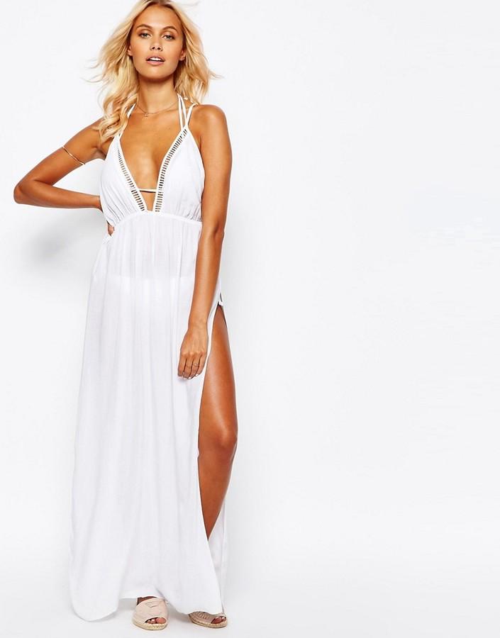 ASOS COLLECTION ASOS Lattice V Neck Maxi Beach Dress