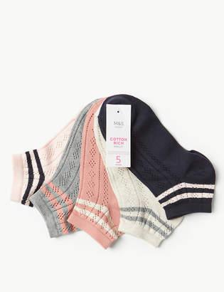 Marks and Spencer 5 Pair Pack Striped Anklet Socks