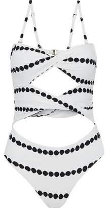 Derek Lam 10 Crosby Twist-Front Cutout Printed Swimsuit