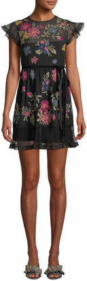 RED Valentino Cap-Sleeve Floral-Embroidered Ruffle Dress