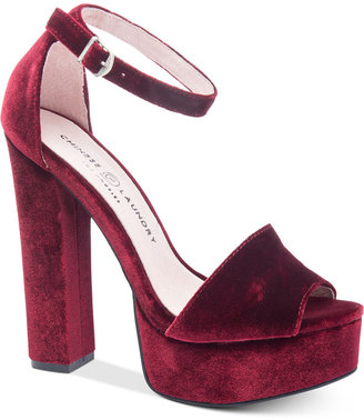 Chinese Laundry Ace Two-Piece Velvet Platform Sandals $80 thestylecure.com