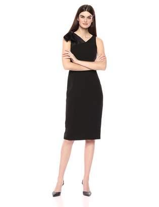London Times Women's Sleeveless Bow Shoulder Crepe MIDI Sheath Dress