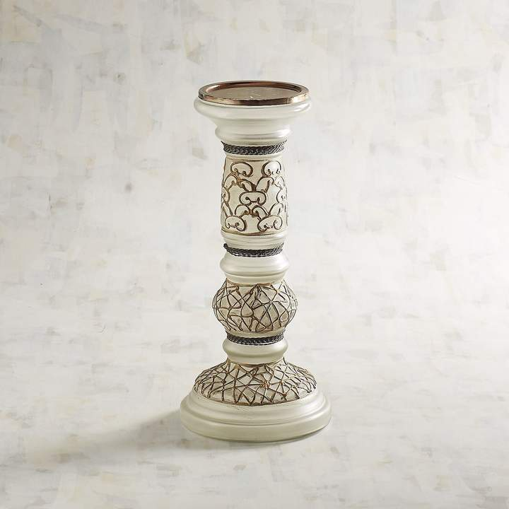 Small Painted Glass Pillar Candle Holder