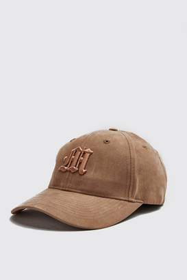boohoo 3D M Embroidery Faux Suede Cap