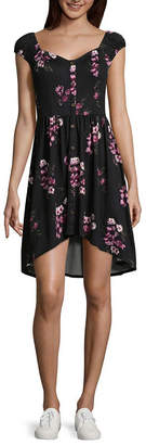 My Michelle Short Sleeve Floral Shift Dress-Juniors