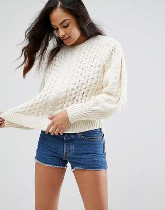 Asos DESIGN Sweater in Cable with Volume Sleeve