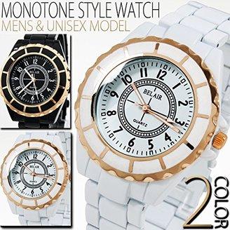 Bel Air [ベルエア 腕時計 OSD56-L (ブラック) シンプルラウンドフェイスにピンクゴールド仕様 メンズ レディース ユニセックス