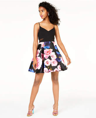 B. Darlin Juniors' Printed-Skirt Dress