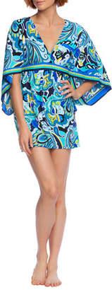 Trina Turk Ipanema Abstract V-Neck Tunic Coverup