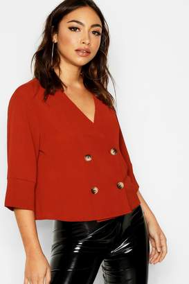 boohoo Tortoise Shell Double Breasted Shirt