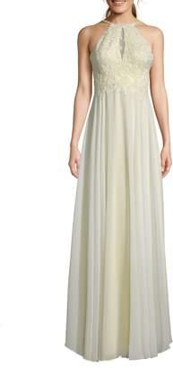 Xscape Evenings Beaded 3D Floral Lace Chiffon Evening Dress