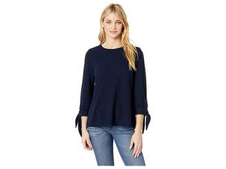Vince Camuto Elbow Sleeve Tie Cuff Brush Jersey Top