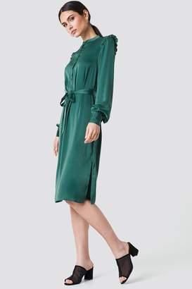 Na Kd Trend Balloon Sleeve Ruffle Shoulder Midi Dress
