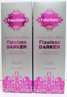 Fake Bake Flawless DARKER - Luxurious Deeper Bronze - Self Tan Liquid & professional Mitt - 6 oz - Set of 2