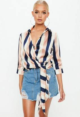 Missguided Navy Chunky Stripe Wrap Over 3/4 Sleeve Tie Side Blouse