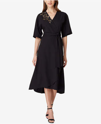 Tahari ASL Metallic-Embroidered Wrap Midi Dress