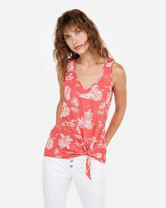 Express One Eleven Floral Tie Front Easy Tank