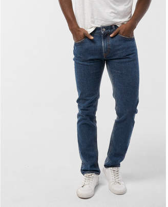 Express slim shadow patch distressed stretch jeans