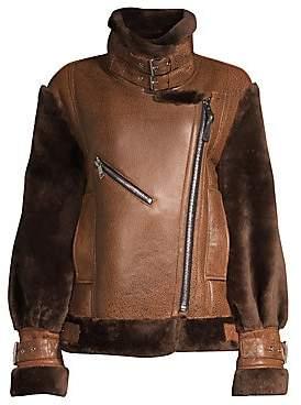 Nicole Benisti Women's Gramercy Sheep Fur-Trim Leather Jacket