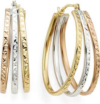 Fine Jewelry Diamond Cut Tri Color 14k Gold Triple Fan Hoop Earrings