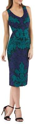 JS Collections Embroidered Sleeveless Cocktail Dress