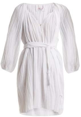 Loup Charmant - Peasant Cotton Tunic Dress - Womens - White