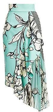 Silvia Tcherassi Women's Aretha Asymmetric Pleated Midi Skirt
