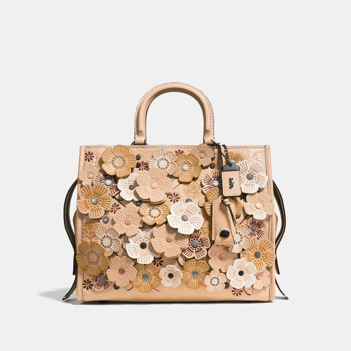 Coach  COACH Coach Rogue In Pebble Leather With Wild Tea Rose