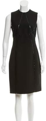 Ralph Rucci Wool Vegan Leather-Trimmed Dress