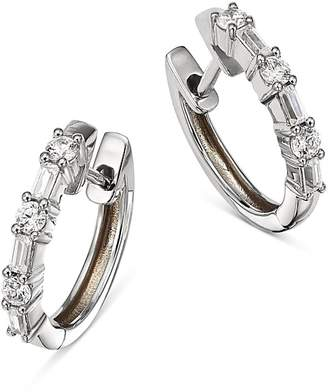Bloomingdale's Diamond Baguette & Round Huggie Hoop Earrings in 14K White Gold, 0.50 ct. t.w. - 100% Exclusive