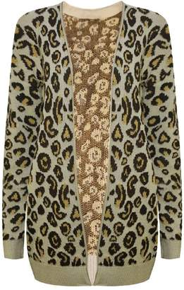 Roland Mouret Fashions Womens Open Front Animal Print Knitted Leopard Cardigan