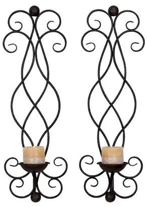 DecMode Decmode Metal Candle Sconce, Set of 2, Black