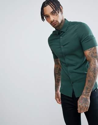 Asos DESIGN skinny viscose shirt in pine green